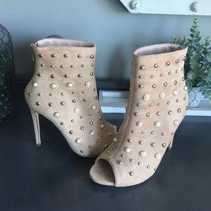 Tan open toe heels